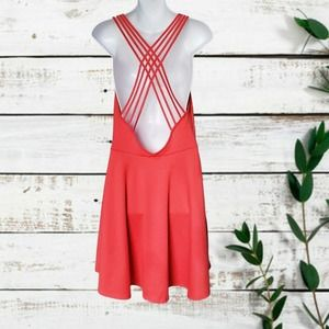 LUSH Criss Cross Back Coral Dress Size L